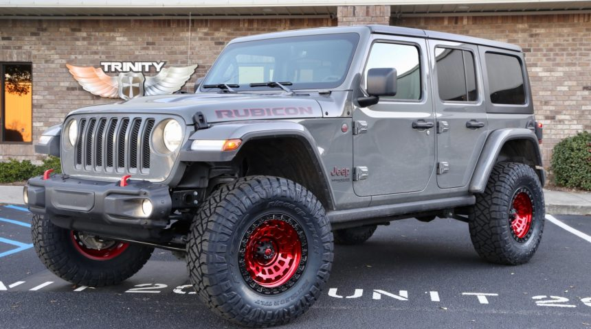 19 Jeep JL on Candy Red Fuel Wheels