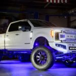 Fabtech Lifted F-250 Platinum on Fuel wheels wrapped with Nittos